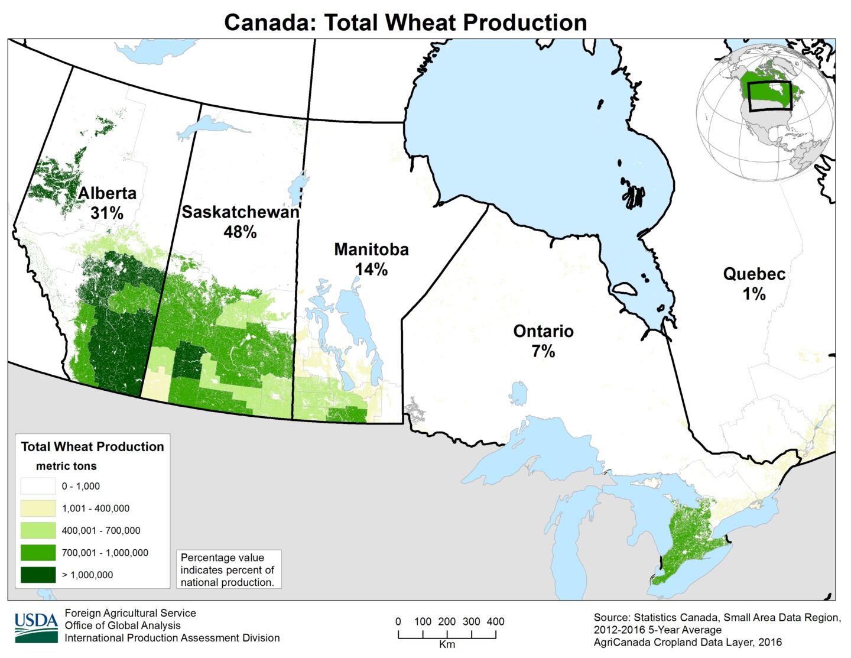 Canada's Wheat Production change by Years - North America FarmQuip Magazine